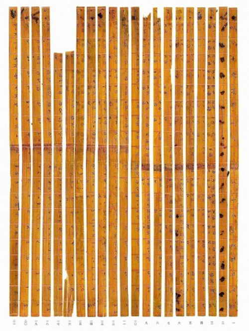 Китайские учёные выложили древние бамбуковые полосы с иероглифами определённым образом и получили десятичную таблицу умножения, которая использовалась 2300 лет назад. Фото: Research and Conservation Center for ExcavatedText/Tsinghua University
