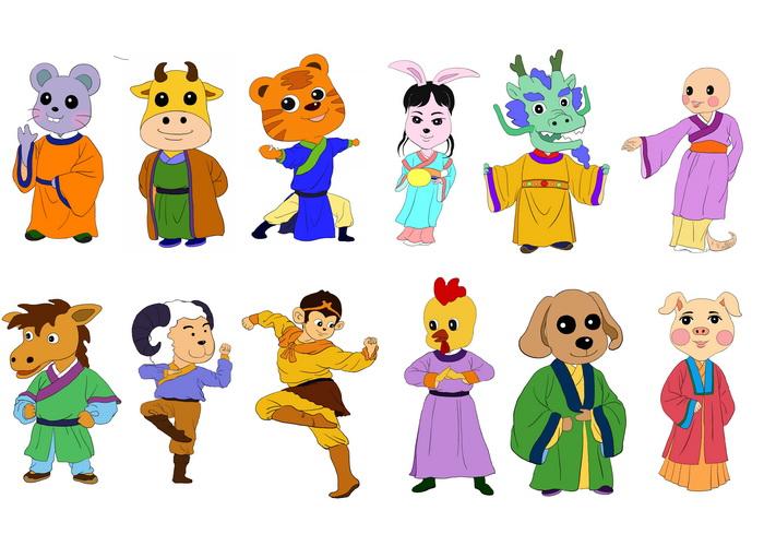 Двенадцать знаков китайского зодиака: крыса, бык, тигр, кролик, дракон, змея, лошадь, овца, обезьяна, петух, собака и свинья. Иллюстрация: Zhiching Chen/Великая Эпоха (The Epoch Times)
