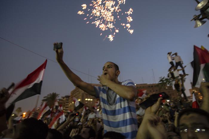 «Братья-мусульмане» празднуют победу на площади Тахрир в Каире 24 июня. Фото: Daniel Berehulak /Getty Images