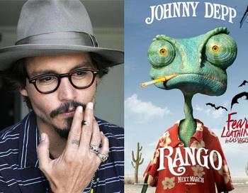 Джонни Дэпп и его хамелеон Ранго. Фото с сайта yaom.ru