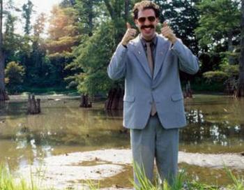 Кадр из фильма по сценарию Саши Барона Коэна «Борат». Фото с сайта vesti.kz