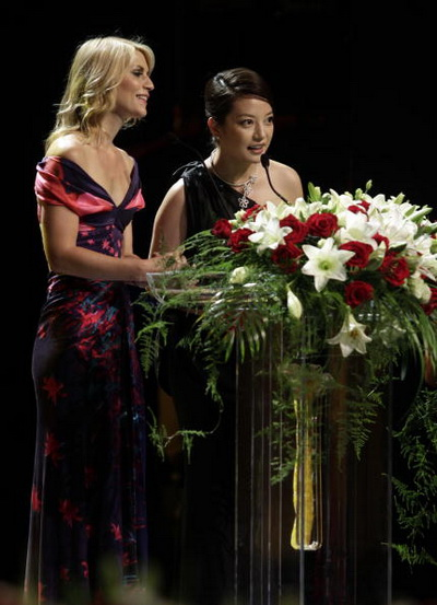 Американская актриса Клер Дэйнс и китайская актриса Вики Чжао. Фото:  STR/AFP/Getty Images