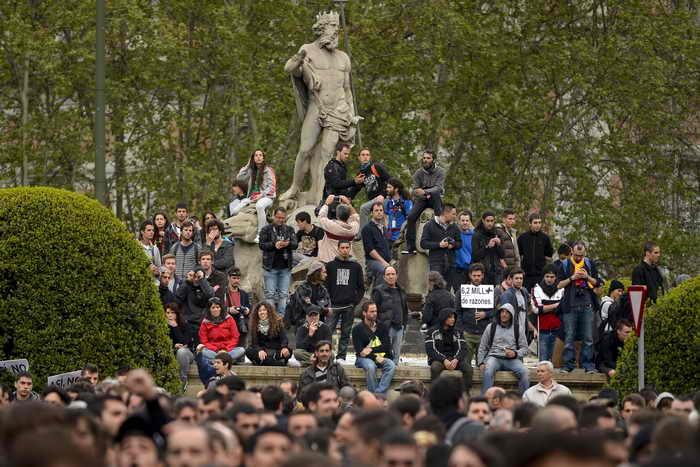 Антиправительственные выступления молодёжи в Мадриде. Фото: EDRO ARMESTRE/AFP/Getty Images
