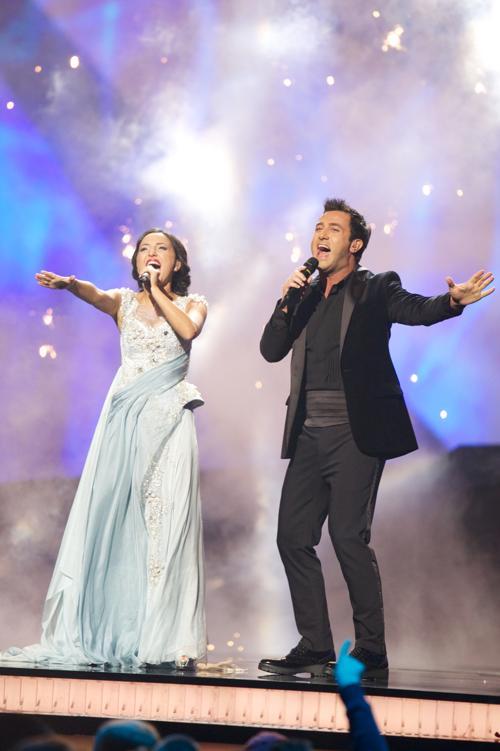 Софо Геловани и Нодико Татишвили из Грузии выступили на генеральной репетиции перед 2 полуфиналом Евровидения-2013. Фото:  Ragnar Singsaas/Getty Images