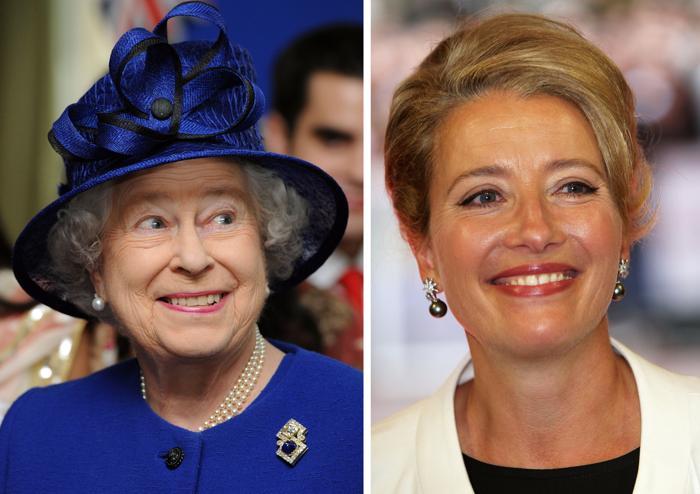 Королева Елизавета II (Л) и актриса Эмма Томпсон (П). Фото (Л): Anthony Devlin - WPA Pool/Getty Images, Фото (П): Dave Hogan/Getty Images