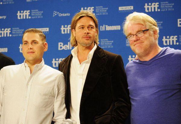«Человек, который изменил все». Актеры Джона Хилл, Брэд Питт и Филип Сеймур Хоффман на кинофестивале в Торонто, Канада. Фото: Jason Merritt/Getty Images