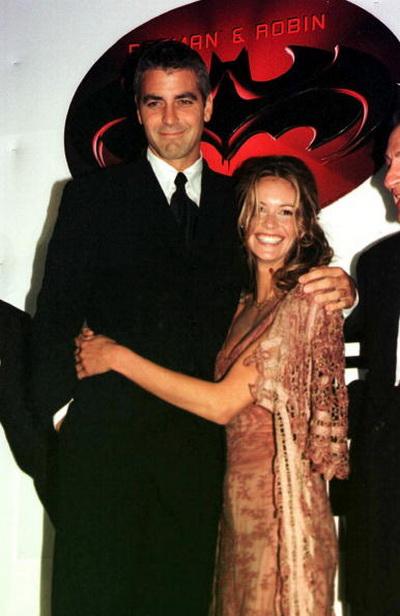 Джордж Клуни. Джордж Клуни и актриса Эль Макферсон на премьере фильма «Бэтмен и Робин». 1997 год. Фото: Michael Buckner/Getty Images