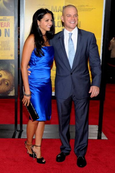 «Заражение». Актер Мэтт Дэймон с супругой Лючианой Баррозо на премьере фильма «Заражение» в Нью-Йорке. Фото: Michael Loccisano/Getty Images