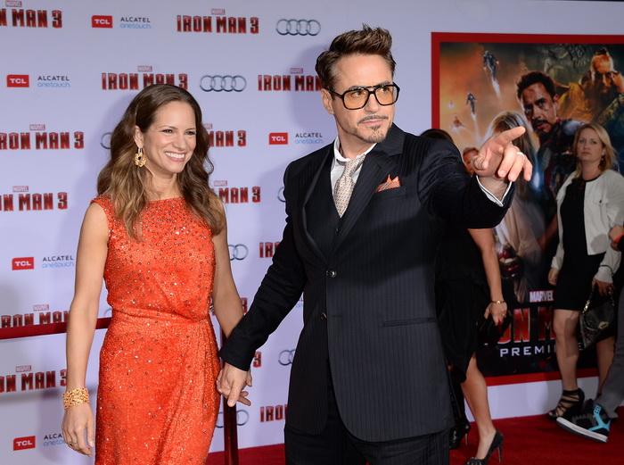 «Железный человек 3». Актёр Роберт Дауни младший с супругой Сюзан Дауни на премьере фильма «Железный человек 3» в Голливуде, Калифорния. Фото: Jason Merritt/Getty Images