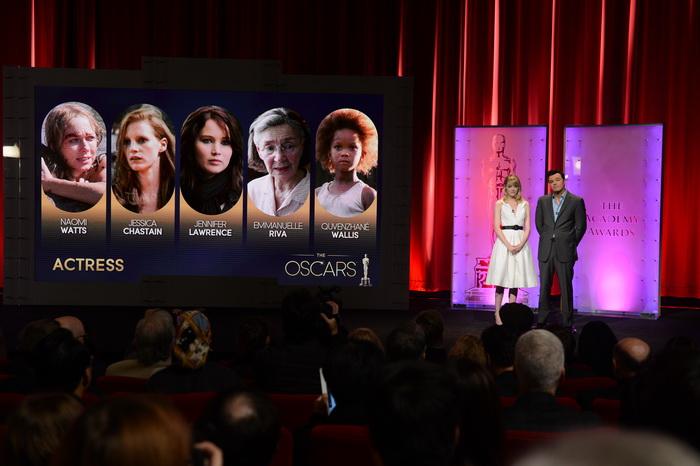 Объявлены номинанты на приз «Оскар». Эмма Стоун и Сет МакФарлейн объявляют номинантов в номинации  «Лучшая актриса в главной роли». Фото: ROBYN BECK/AFP/Getty Images
