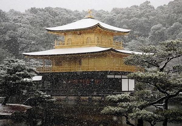 Золотой павильон храма (Кинкаку-дзи) в Киото, Япония, был построен в 1397 году как дом для престарелого сегуна Асикага Есимицу.  7 января 2007 года. Фото:Koichi Kamoshida/Getty Images