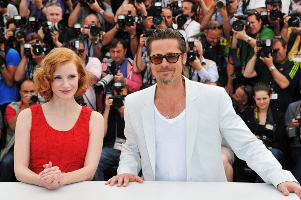 Брэд Питт и Джессика Честейн, 16 мая 2011, Канны, Франция. Фото:  Pascal Le Segretain/Getty Images