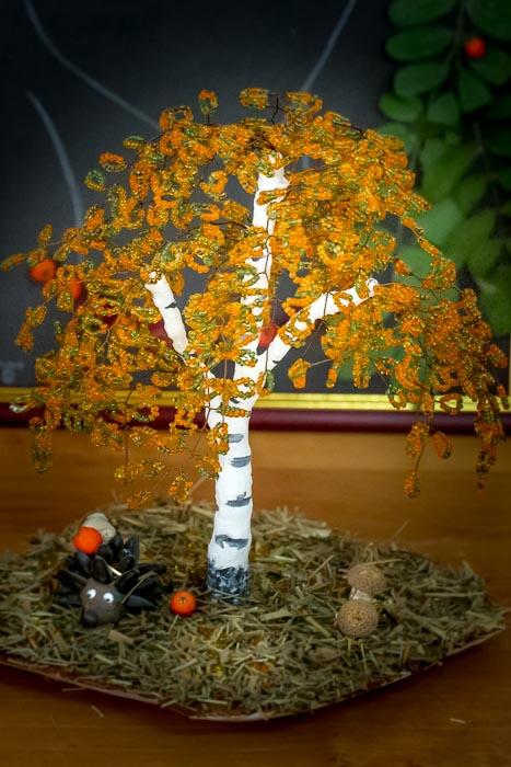 Топиарий, букет роз из листьев и другие осенние поделки 59