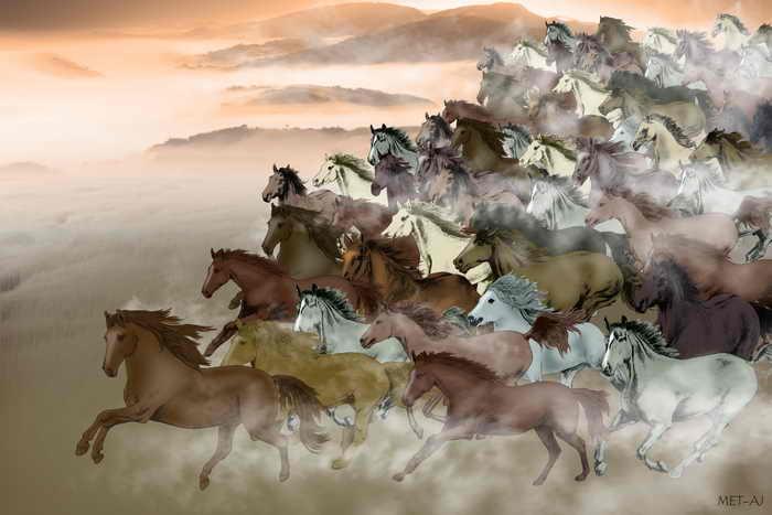 Тысячи лошадей скачут вперёд. Иллюстрация: Anny Jean/Великая Эпоха (The Epoch Times)
