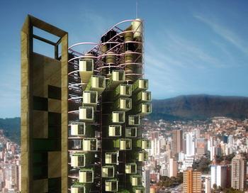 В Бразилии спроектировали необычный небоскреб, состоящий из нескольких сотен отделяемых и транспортируемых жилых модулей.