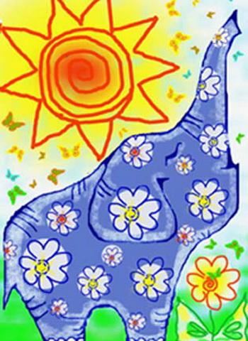 Ромашковый слон. Рисунок автора