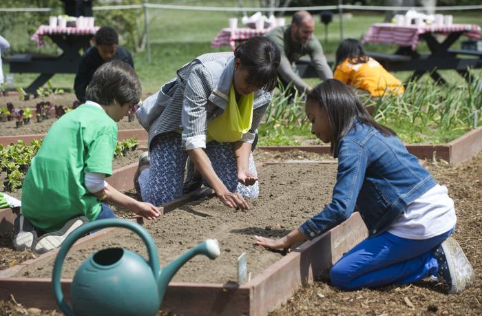Мишель Обама со школьниками посадила овощи около Белого дома. Фото: SAUL LOEB/AFP/Getty Images