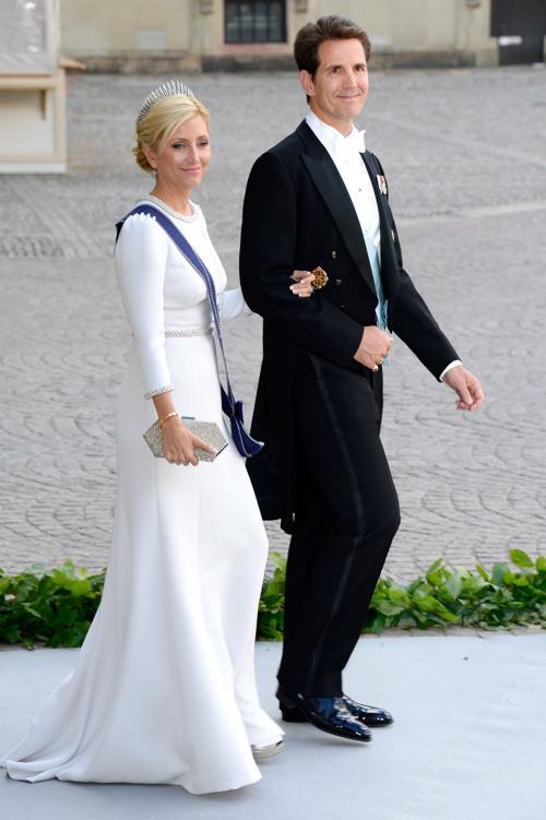 Наследная принцесса Греции Мари-Шанталь и наследный принц Греции Павел на свадьбе принцессы Мадлен и Кристофера ОНила в Швеции. Фото: Pascal Le Segretain/Getty Images