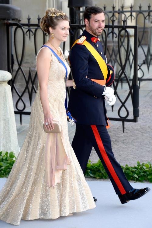 Крон-принцесса Люксембурга Стефани и принц Гийом на свадьбе принцессы Мадлен и Кристофера ОНила в Швеции. Фото: Pascal Le Segretain/Getty Images