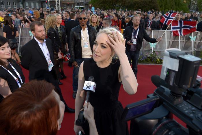 Маргарет Бергер, представительница Норвегии, прибыла на церемонию открытия Евровидения 2013 в Мёльме, Швеция. Фото: Janerik Henriksson / SCANPIX/AFP/Getty Images