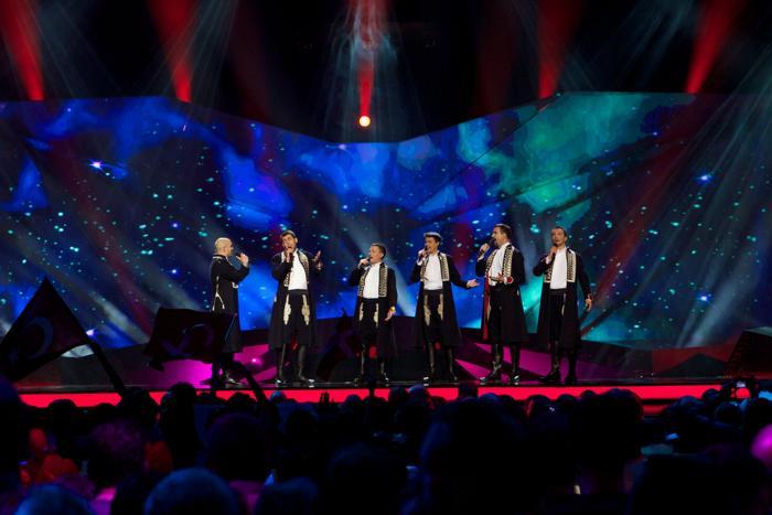 Группа «Klapa s Mora» из Хорватии выступает в первом полуфинале Евровидения-2013 в Мальмё. Фото: Janerik Henriksson / SCANPIX/AFP/Getty Images