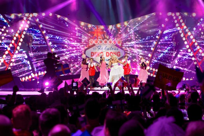 Криста Зигфридс из Финляндии во втором полуфинале Евровидения-2013. Фото: Ragnar Singsaas/Getty Images