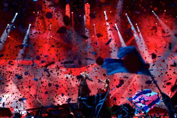 Певец из Румынии Чезар Оуату во втором полуфинале Евровидения-2013. Фото: Ragnar Singsaas/Getty Images
