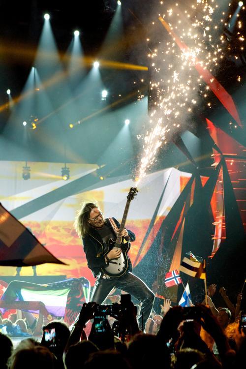 Дуэт Адриан Люльгюрай и Бледар Сейко из Албании во втором полуфинале Евровидения-2013. Фото: Ragnar Singsaas/Getty Images