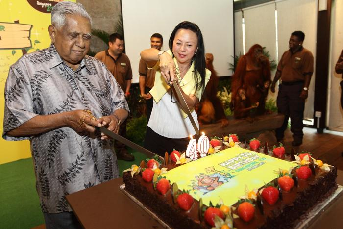 Разрезание большого юбилейного торта бывшим президентом Сингапура Селлапаном Рамой Натаном и председателем сингапурских заповедников Клэр Чанг. Фото: Suhaimi Abdullah/Getty Images
