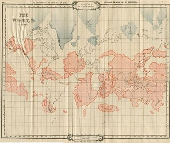 Карта Лемурии наложенная на современные континенты из книги Скотта-Эллиота «История Атлантиды и потерянной Лемурии»