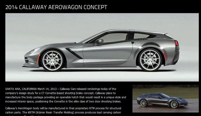 На скриншоте сайта компании Callaway Cars изображён Corvette Stingray Aerowagon. Фото: Великая эпоха