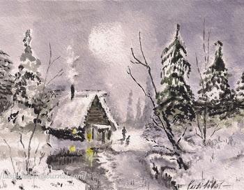 Тихая зимняя ночь. Акварель lusisoleil