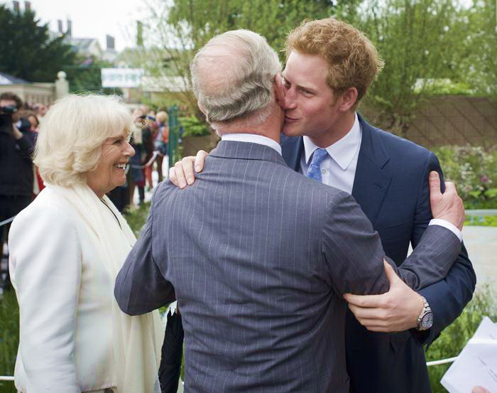 Принц Гарри втсречает своего отца наследного принца Великобритании Чарльза на юбилейной королевской выставке цветов в Челси. Фото: Geoff Pugh - WPA Pool/Getty Images