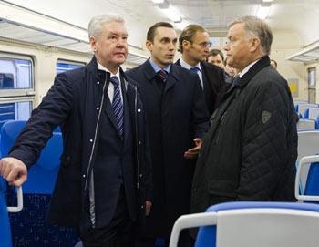 Мэр Москвы Сергей Собянин посетил Савеловский вокзал и осмотрел новый поезд