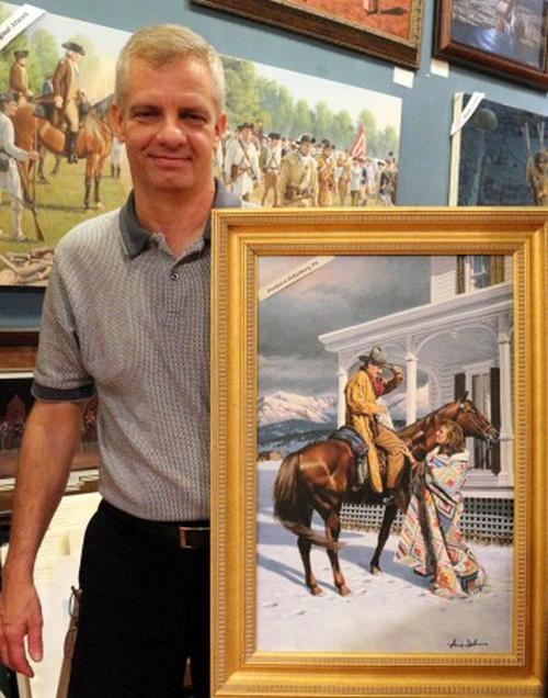 Ларри Селмен с копией рисунка маслом, который он сделал для обложки книги. Фото: Myriam Moran copyright 2013