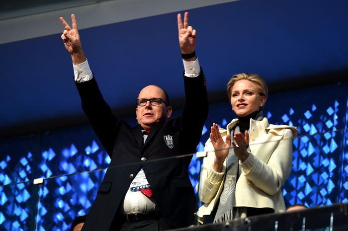 Принц Альберт II и принцесса Шарлин из Монако в олимпийском Сочи на открытии зимних Игр 2014. Фото: Pascal Le Segretain/Getty Images