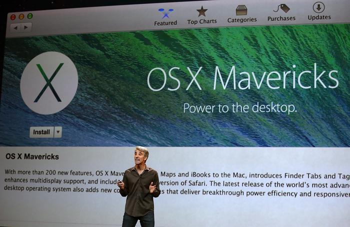 Вице-президент Apple по программному обеспечению Крейг Федериги представляет OS X Mavericks. Фото: Justin Sullivan/Getty Images