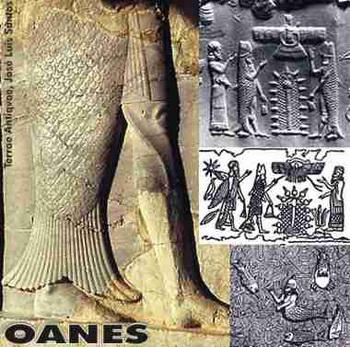 Оаннес. Остатки одного из двух рельефных изображений Оаннеса у входа во дворец в древней персидской столице Пасаргады, недалеко от Шираза, Иран.  Фото: terraeantiqvae.blogia.com