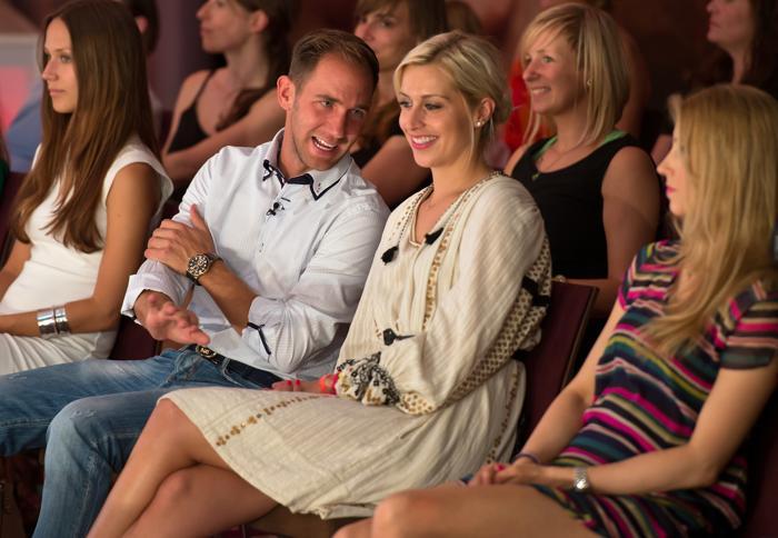 Марсель Рема и телеведущий Верена Керт посетили шоу немецкого бренда Ernstings Family в Мюнхене 10 июля 2013 года. Фото: Joerg Koch/Getty Images