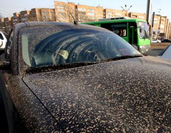 Автомобиль после грязевого дождя во Владивостоке. Фото РИА Новости