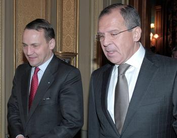 Встреча Сергея Лаврова и Радослава Сикорского. Фото РИА Новости