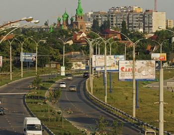 Виды Краснодара. В центре на дальнем плане — Свято-Троицкий собор. Фото РИА Новости
