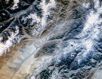 Фотоснимок земной поверхности, сделанный с борта космического корабля. Фото РИА Новости