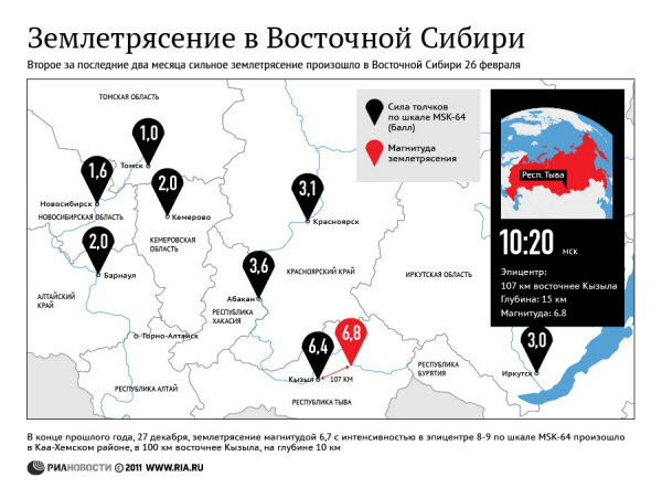 Землетрясение в Восточной Сибири
