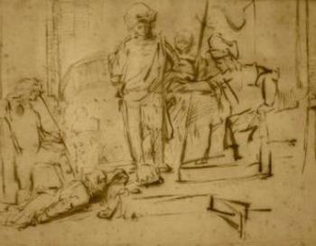 Фото: Набросок тушью голандского художника Рембрандта «Приговор» (The Judgment)