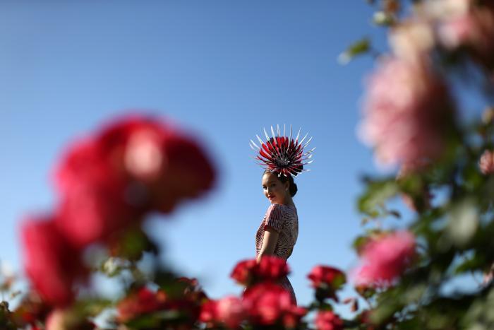 Модные шляпы и аксессуары продемонстрировали светские дамы на скачках за Кубок Мельбурна 4 ноября 2013 года. Фото: Mark Metcalfe/Getty Images for the VRC