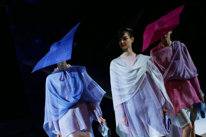 Легендарный итальянский дизайнер одежды Джорджио Армани представил женскую коллекцию Giorgio Armani весенне-летнего сезона 2014 года на Неделе моды в Милане 23 сентября 2013 года. Фото: Vittorio Zunino Celotto/Getty Images
