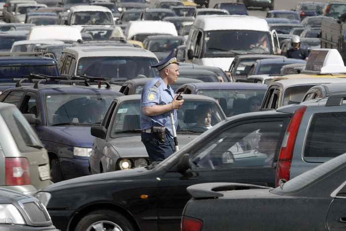 Москва заняла первое место по дорожным пробкам. Фото: VIKTOR DRACHEV/AFP/Getty Images.