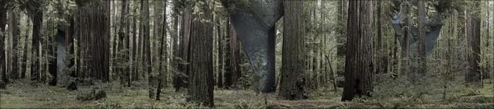 Топографическая съёмка также важна. Модель домов, спроектированных Конрадом Вёйсиком, на фоне изображения Национального парка Редвуд, Калифорния. Фото предоставлено Конрадом Вёйсиком.