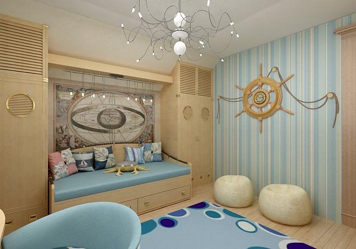 Дизайн комнаты с интерьером в морском стиле. Фото с сайта www.incastle.com